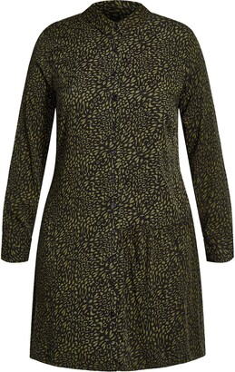 City Chic Animal Print Long Sleeve Mini Shirtdress