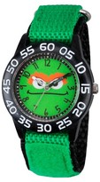 Sesame Street Boys' Black Plastic Time Teacher Watch - Green