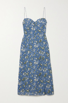 Reformation + Net Sustain Juliette Floral-print Georgette Midi Dress - Blue