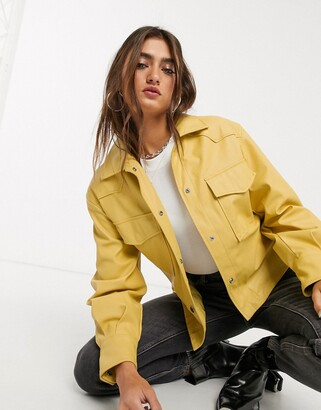 Bershka faux leather shacket with removable tie waist in mustard