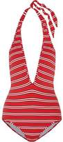 Zimmermann Roza Knit Striped Halterneck Swimsuit