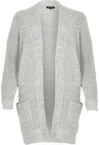 River Island Womens Grey oversized chunky knit cardigan