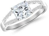 Houston Diamond District 1.15 Carat t.w. 14 Rose Gold Princess Curving Split Shan Diamond Engagement Ring VS2-SI1