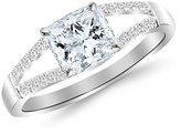 Houston Diamond District 1.15 Carat t.w. Platinum Princess Curving Split Shan Diamond Engagement Ring VS2-SI1