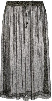 Comme Des Garçons Pre Owned 1997 Metallic Embroidery Sheer Skirt