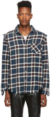 R 13 Navy Shredded Slouch Shirt