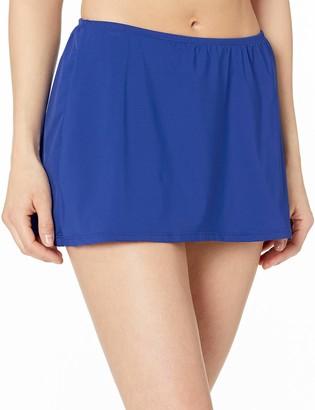 24th & Ocean Women's Core Solids Mid Waist Skirted Pant Bikini Bottom
