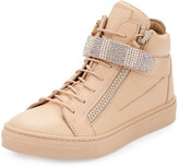 Giuseppe Zanotti Leather Crystal-Strap High-Top Sneaker, Pink, Infant/Toddler
