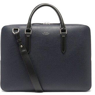 Smythson Ludlow Grained-leather Briefcase - Navy