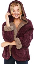 Qiuse Women's Lovely Double-Side Faux Lamb Fur Reversible Batwing Fleece Hooded Coat
