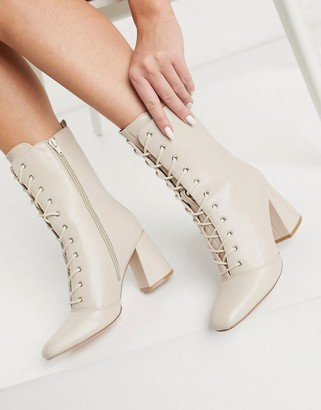 Glamorous lace up heeled ankle boots in bone