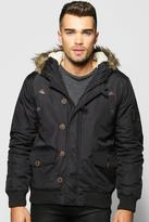 Boohoo Faux Fur Hooded Parka Bomber