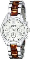 Burgi Women's BUR130SS Diamond Accented Silver & Tortoise Resin Multifunction Bracelet Watch