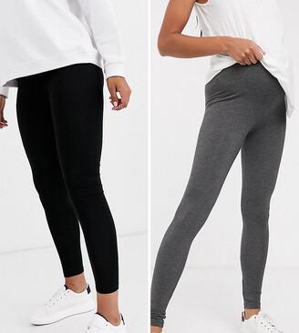 New Look Maternity 2 pack leggings in grey and black