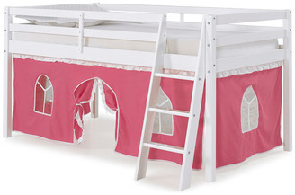 Alaterre Furniture Roxy Junior Loft White Twin Bed, Tent, Pink