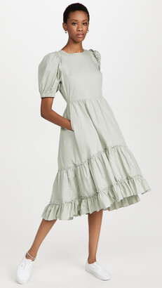 ENGLISH FACTORY Ruffle Detail Midi Dress