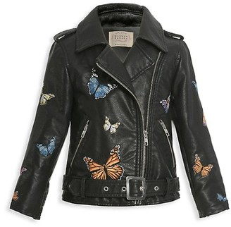 Hannah Banana Girl's Embroidered Moto Jacket
