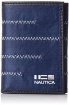 Nautica Men's Fabric Trifold with Zig Zag Stitch Accent