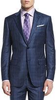 Ermenegildo Zegna Plaid Two-Piece Wool Suit, Blue
