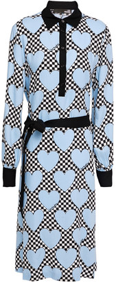Love Moschino Belted Printed Twill Midi Shirt Dress