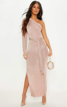 PrettyLittleThing Rose Gold One Shoulder Metallic Knitted Dress