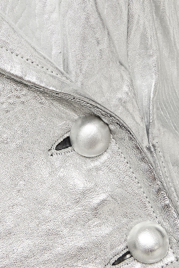 Thumbnail for your product : Zimmermann Sabotage Double-breasted Metallic Textured-leather Biker Jacket
