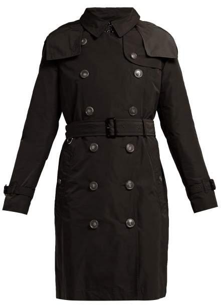 Burberry Kensington Gabardine Trench Coat - Womens - Black