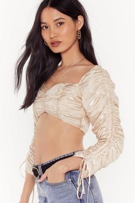 Nasty Gal Womens Oh Ruche Metallic Cropped Blouse - beige - 4