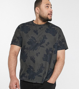 New Look PLUS all over print floral sublimation t-shirt in dark khaki