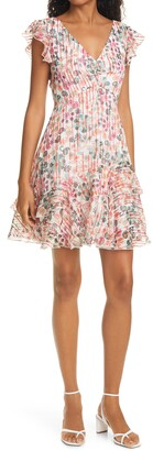 Saloni Catia Floral Ruffle Hem Dress