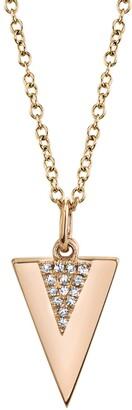 Ron Hami 14K Rose Gold Pave Diamond Triangle Pendant Necklace - 0.03 ctw