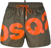 DSQUARED2 slanted logo swim shorts - men - Cotton/Polyamide - 44