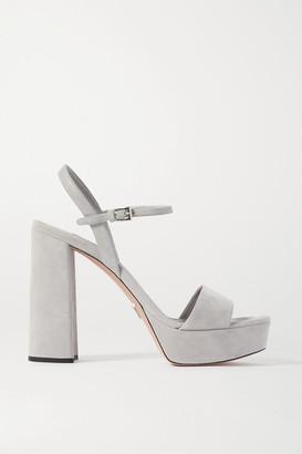 Prada 115 Suede Platform Sandals - Gray
