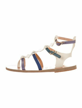 Ancient Greek Sandals Leather Colorblock Pattern Gladiator Sandals Blue