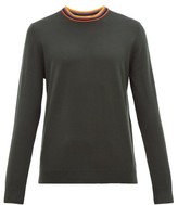 Paul Smith Artist Stripe-neck Merino Wool Sweater - Mens - Dark Grey