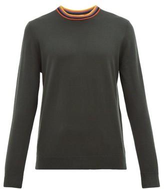 Paul Smith Artist Stripe-neck Merino Wool Sweater - Dark Grey