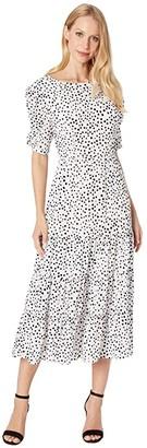 BB Dakota Something About Dots Flocked Dot Tiered Midi Dress (Ivory) Women's Clothing