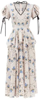 Rodarte Puff-sleeve Floral-print Silk-blend Crepe Dress - Blue White