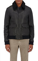 Michael Kors Men's G-1 Shearling?Collar Grained Leather Jacket-BLACK