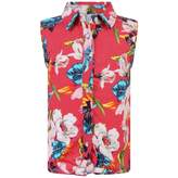 GUESS GuessGirls Pink Floral Tie Up Sleeveless Shirt