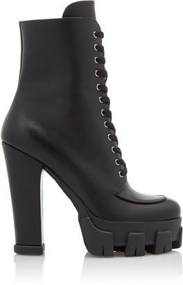 Prada Lace-up Leather Platform Boots