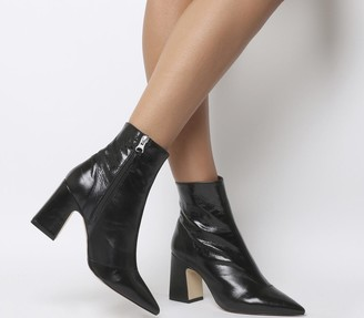 Office Alto Pointed Block Heels Black Leather