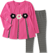 Kids Headquarters Pink & Black Floral-Accent Tunic & Leggings - Toddler & Girls