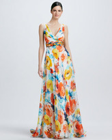 Theia Sleeveless Floral-Print Gown