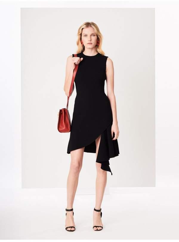 Oscar de la Renta Asymmetric Stretch-Wool Crepe Dress