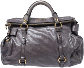 Miu Miu Dark Grey Vitello Lux Leather Bow Satchel
