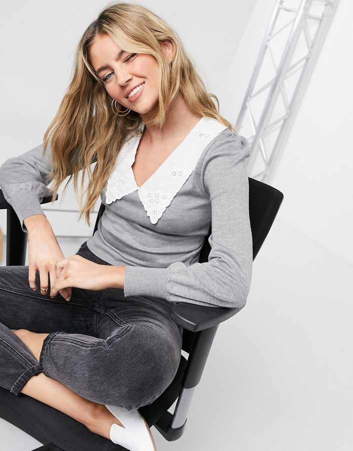 Thumbnail for your product : Qed London sweater with broderie collar detail in gray