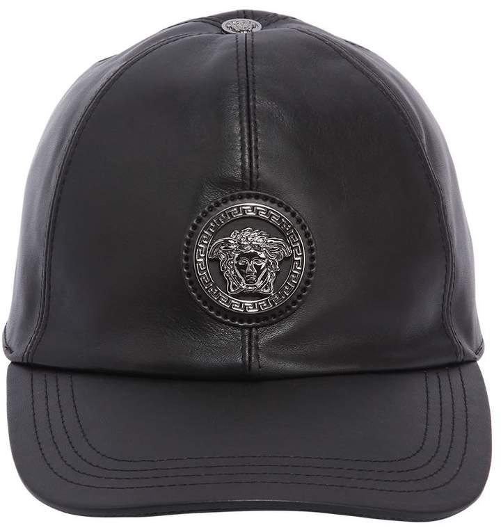 Versace 3d Medusa Leather Baseball Hat