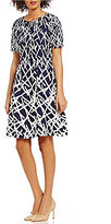 Adrianna Papell Crepe Scuba Printed Fit & Flare Dress