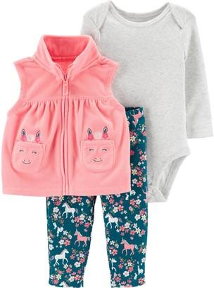 Carter's Baby Girl 3-Piece Horse Little Vest Set